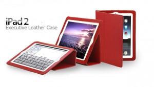 本革iPad 2 Smart Case /iPad2 Case/iPad2用ケース (赤色)